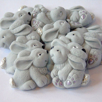 12 Edible Grey Easter Rabbits Baby Shower Cupcake Cake Decorations