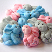 12 Edible Mixed Baby Rabbit Easter Baby Shower Mothers Day Cupcake Cake Toppers