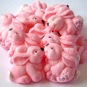 12 Edible Pink Easter baby Rabbits Mothers Day Cupcake Cake Toppers