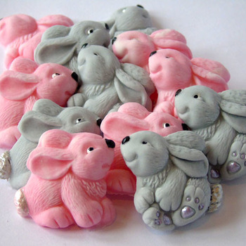12 Edible Pink Grey Baby Shower bay Rabbits Cupcake Toppers