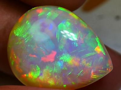 15.00 CRT PERFECT PATCHWORK RAINBOW LIGHTNING HONEYCOMB PUZZLE WELO OPAL