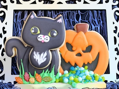 3D Halloween Cookie Scene with Black Cat & Jack O'Lantern - Cute Halloween Royal Icing Cookies