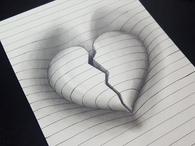Amazing! | How to Draw 3D Broken Heart in Line Paper |  3D Trick Art