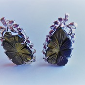 Carved Tourmaline Earrings/ Gift for her/ Birthday gift/Wedding gift/ Valentines day gift
