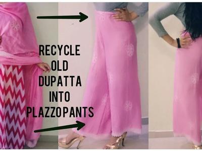 DIY Recycle.Reuse Old Dupatta into Plazzo Pants ~10mins.