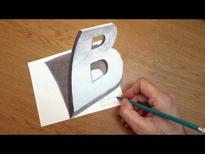 Drawing 3D Letter B Trick Art on Paper with Graphite Pencils Illusion for Kids & Adults