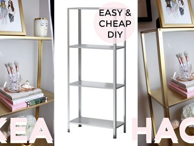 Easy & Cheap DIY   UNDER $20   GOLD SHELF   IKEA HACK