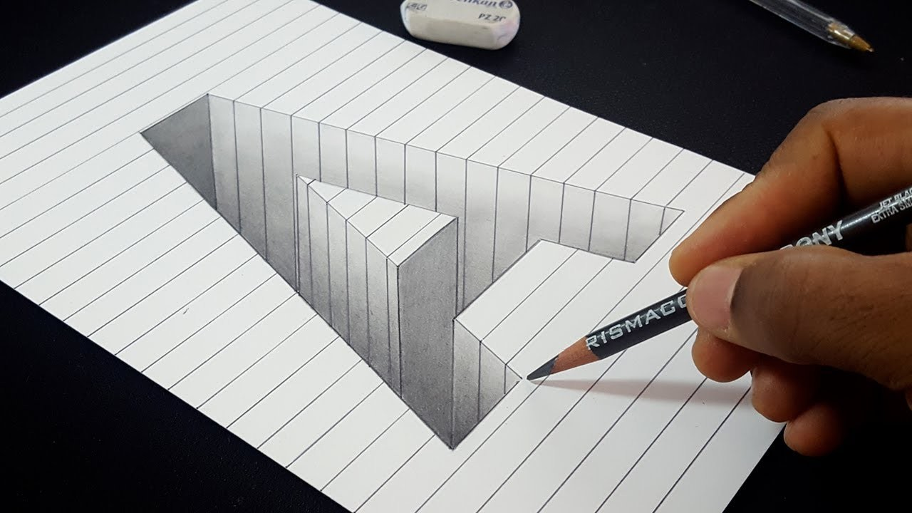 Easy 3d Line Drawings : Easy drawing how to draw d hole letter a shape in line