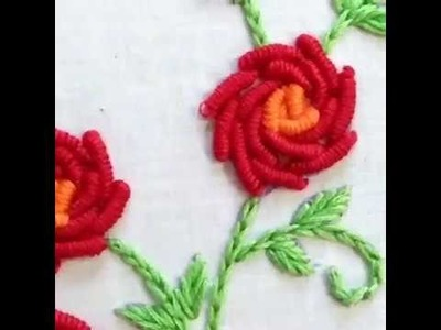 HAND EMBROIDERY BULLION  STITCH BY ATIB EASY LEARNING