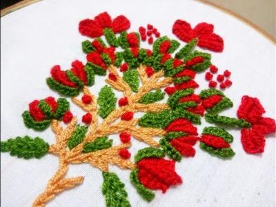 Hand Embroidery Buttonhole bar flower stitch Design video tutorial.