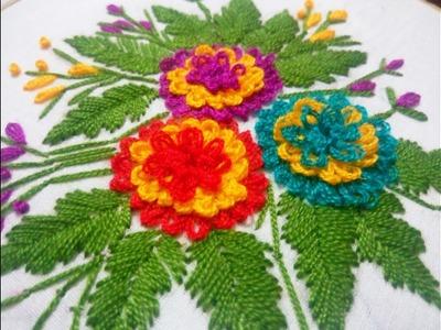 Hand Embroidery Gordian Knot flower stitch Design video tutorial.