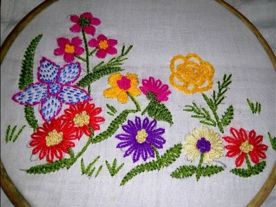 Hand Embroidery Nakshi Katha New Flowers Design video tutorial.