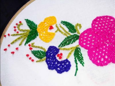 Hand Embroidery net stitch Design video tutorial By Nakshi katha.