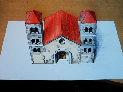 How to draw - 3d temple, church - one point perspective