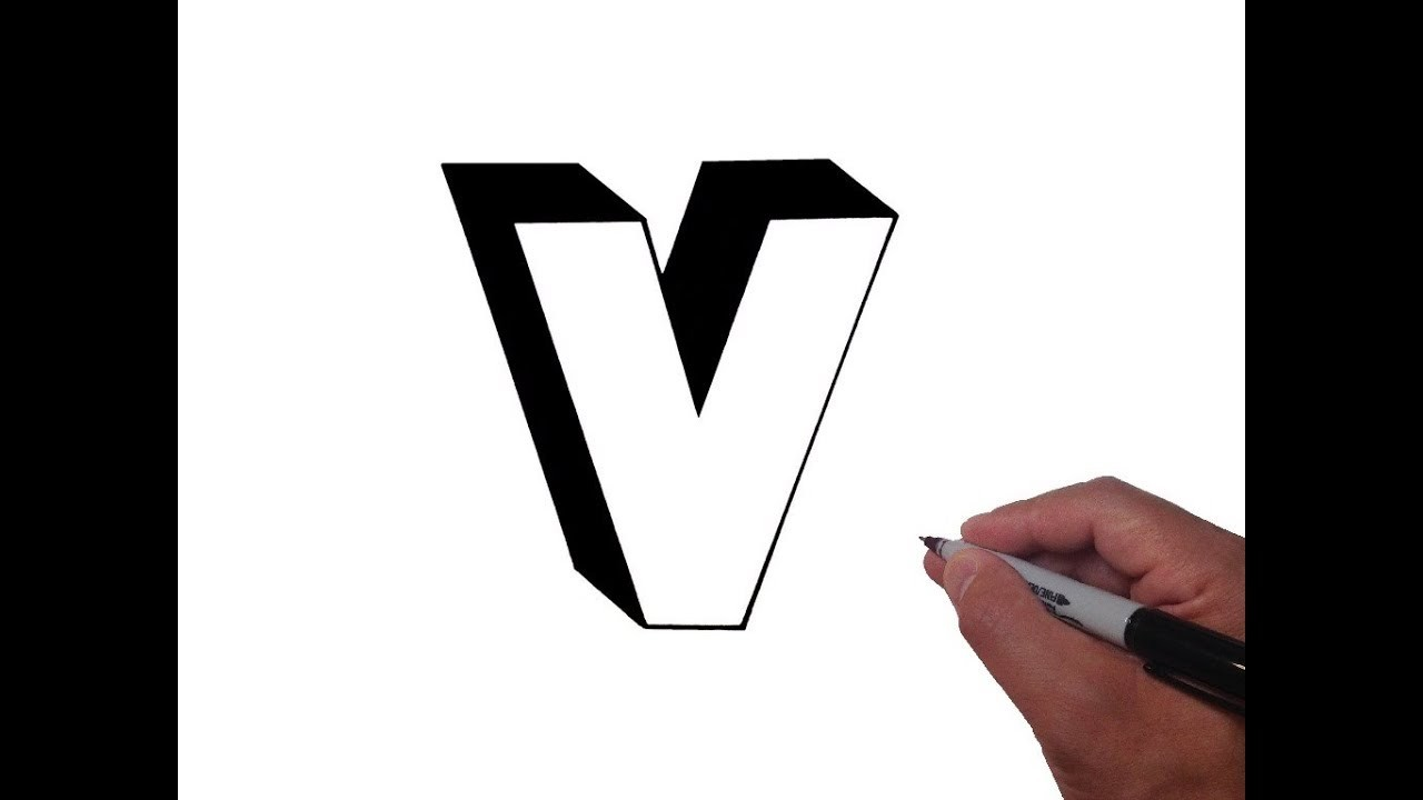 How to Draw Letter v in Lowercase 3D