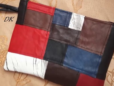 Leather Patchwork Pouch