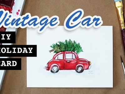 Little Red Vintage Car - DIY Greeting Card | Watercolor Painting