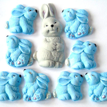 Mothers Day Mother Rabbit 8  Baby Rabbit Cupcake Cake Decorations