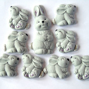 Mothers Day Mother Rabbit 8 Grey Baby Rabbits Cake decorations
