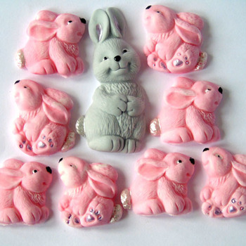 Mothers Day Mother Rabbit 8 Pink Baby Rabbits Cake Decorations