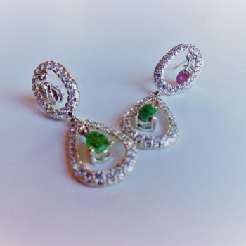 Ruby and Emerald Earrings/Gift for her/ Birthday gift/Wedding gift/ Valentines day gift