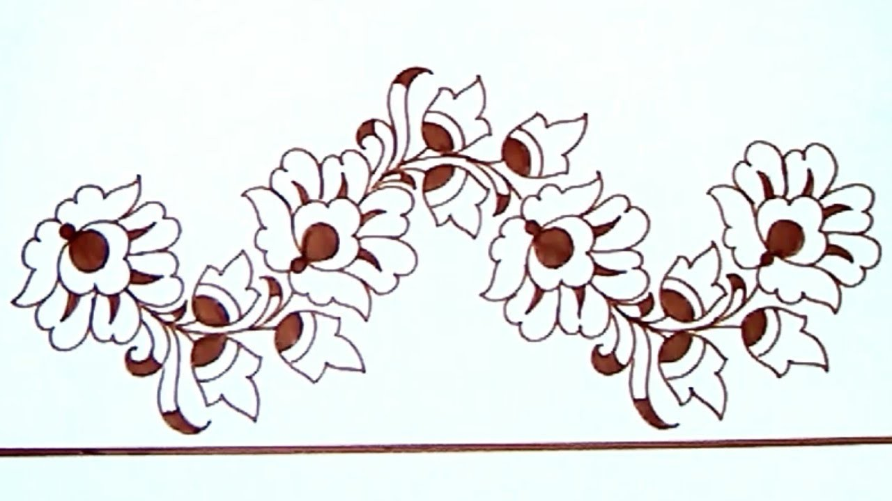 Saree Border Projects For Embroidery Designs Drawing Pencil Sketch