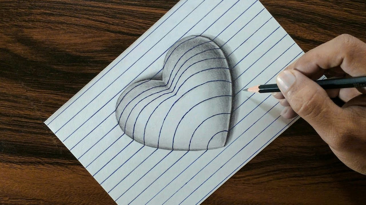 Very Easy 3d Heart On Line Paper Trick Art Drawing