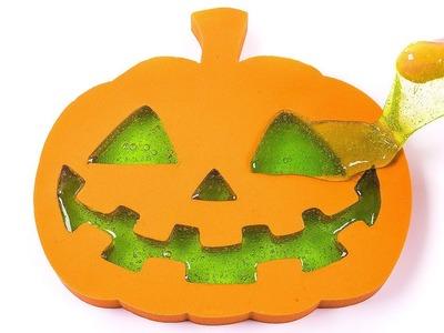DIY How to Make Kinetic Sand Halloween Jacko Lantern Pumpkin Green Slime Learn Colors for Kids