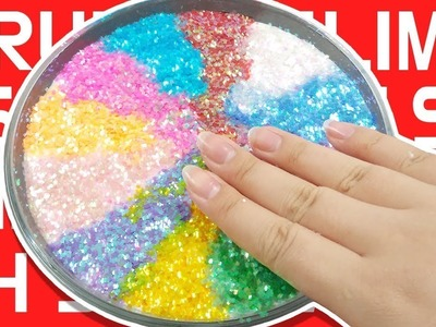 DIY) Rainbow Glitter Crunchy Slime. Crunchy Slime with Fun Texture and Cool Noise