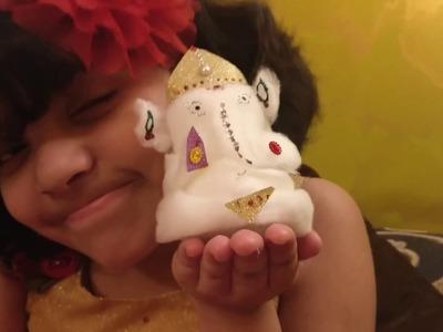 Easy cotton ganpati ;How to make Ganesha Idol; Easy home made cotton Ganesha idol; #LetsRewind