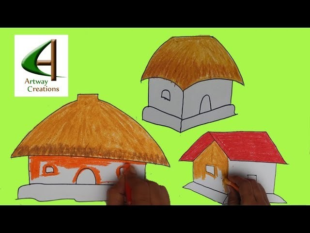 Easy Drawings For Kids House Drawing And Colour 3 Drawing Ideas