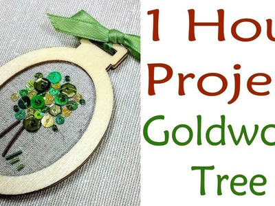 Hand Embroidery - 1 hour project: goldwork tree