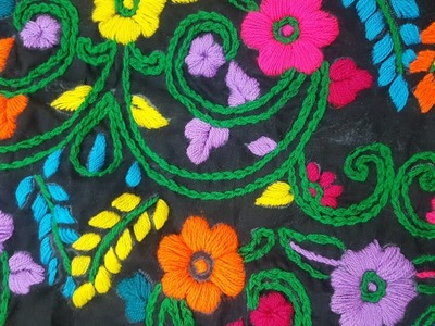 Hand embroidery: Beautiful satin and chain stitches multi colour. bharwan tanka