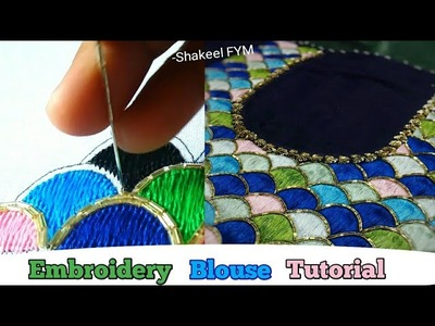 Hand Embroidery Blouse Design Tutorial | Thread work | Aari work