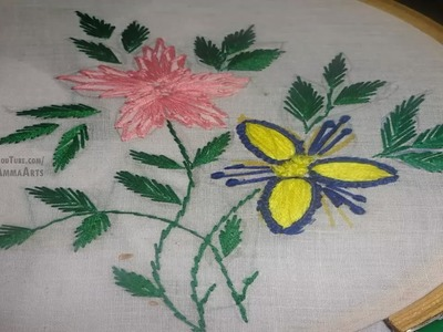 Hand Embroidery Flower Design Stich  by Amma Arts