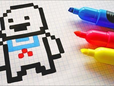 Handmade Pixel Art - How To Draw Kawaii Mashmallow from Ghostbusters #pixelart #Halloween