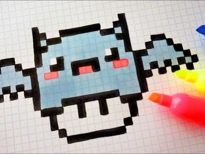 Draw, Handmade Pixel Art - How To Draw Kawaii Bat Mushroom ...