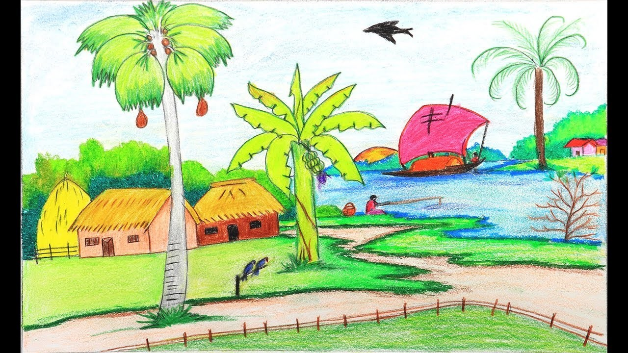 How To Draw A Village Scenery Step By Step Easy Drawing For Kids