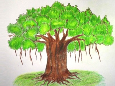 How to Draw Banyan Tree Step By step ||Very easy||