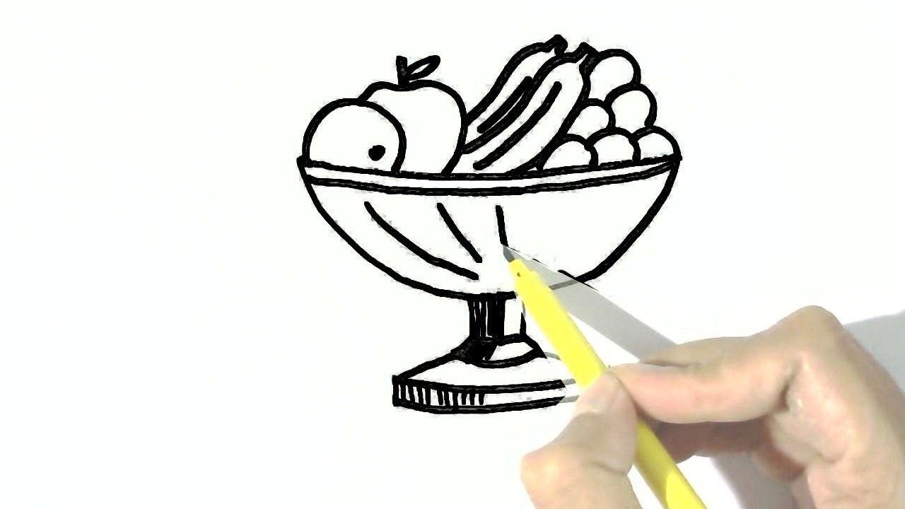 How To Draw Fruit Bowl In Easy Steps For Children Kids Beginners