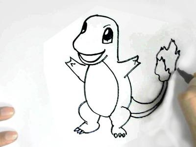 How to draw Pokemon Charmander in  easy steps for children, kids, beginners