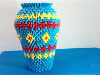 How to make 3d origami vase - Hướng dẫn làm lọ hoa origami 3d