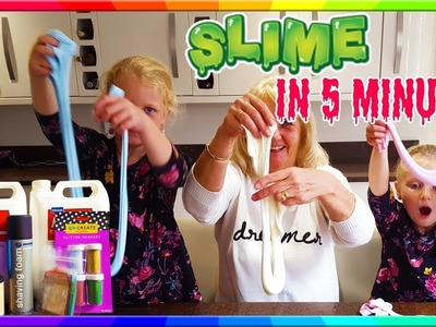 How to make SLIME with glue in 5 minutes UK GROSS Slime Recipe and Challenge   Hannah and Jessica