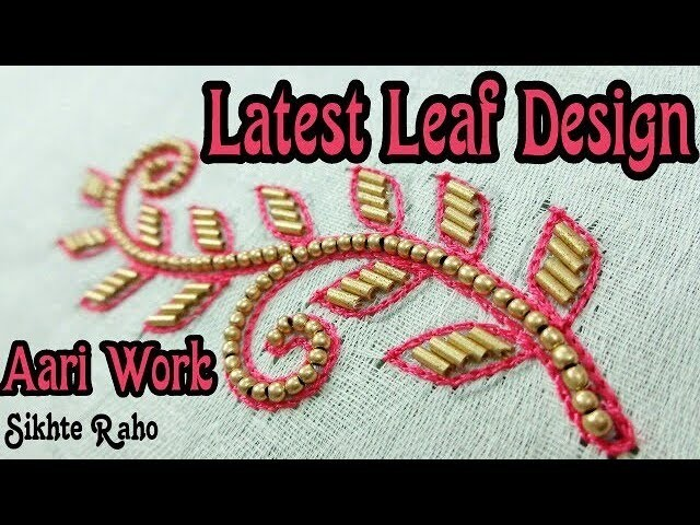 Latest Leaf Design || Thread and long Beads stitch || Aari Work || hand embroidery