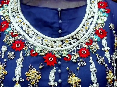 Latest Party Wear Dresses || Hand Embroidery Dresses || Dark Blue Color || HD