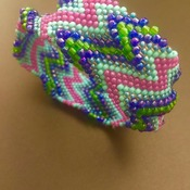 Multi-coloured Beaded Bangle Bracelet
