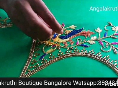 Parrot hand Embroidery Blouse designs