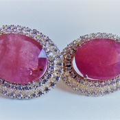 Ruby and Zircon Earrings/Birthday gift for her/Valentines day gift for her