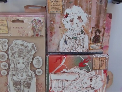 Santoro, Willow- Colour Me In- papers, decoupage pads, stamps, cards and envelopes