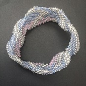 Silver/white Blue/pink Beaded Bangle Bracelet